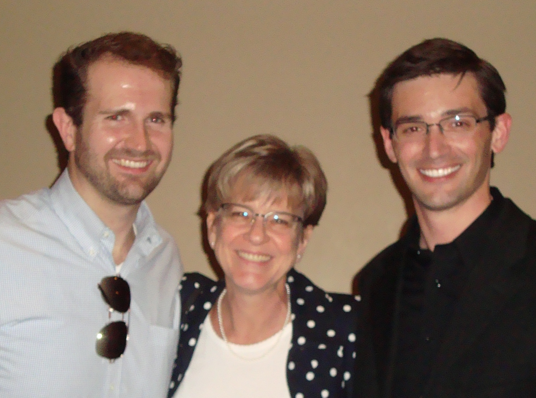 Nathan Smock and Faythe Freese congratulate Josh Coble after his DMA recital